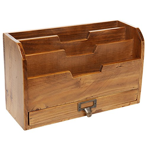 3 Tier Country Rustic Vintage Wood Office Desk File Organizer Mail Sorter Tray Holder W Storage Drawer