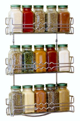 Decobros 3 Tier Wall Mounted Spice Rack Chrome Kitchen