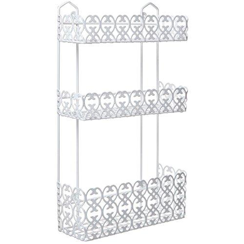Decorative Wall Shelf For Kitchen : Mygift decorative white wall mounted tier shelf baskets